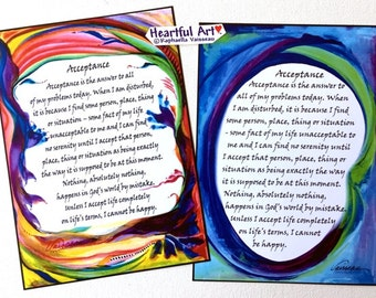 ACCEPTANCE Motivational 12 Step Sobriety Recovery Family Liberation Sponsor Inspiration Eating Disorder Heartful Art by Raphaella Vaisseau