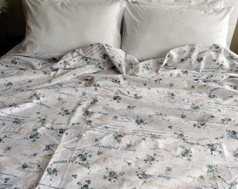 Twin / Twin XL Duvet Cover Roses and Writings Pattern Cotton Satin Dorm Bedding Quilt Cover Home Decor