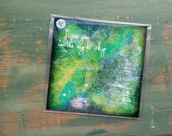 """SALE! Galaxy Print, 5""""x5"""" Star Print, Inspirational Art Print, Mixed Media Print, Nebula Print Galaxy Art, Green, Aqua, Denim, Night Sky"""