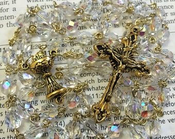 April birthstone Czech glass rosary - gold
