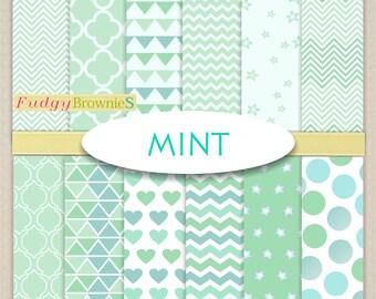 "ON SALE Mint Color Digital Paper Pack _ Scrapbook paper , Digital paper background,12""x12"" , mint color paper , No.264/2"