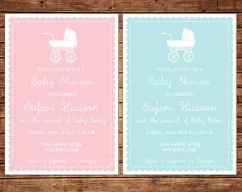 Boy or Girl Invitation Baby Pram Carriage Shower - Can personalize colors /wording - Printable File or Printed Cards