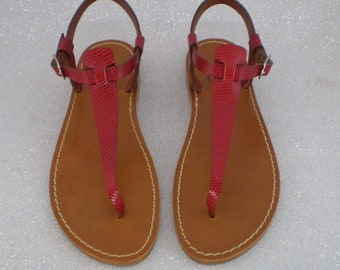Iuzza Women's thong sandals, real leather and real leather, handmade 100% made in Italy. Ruby.