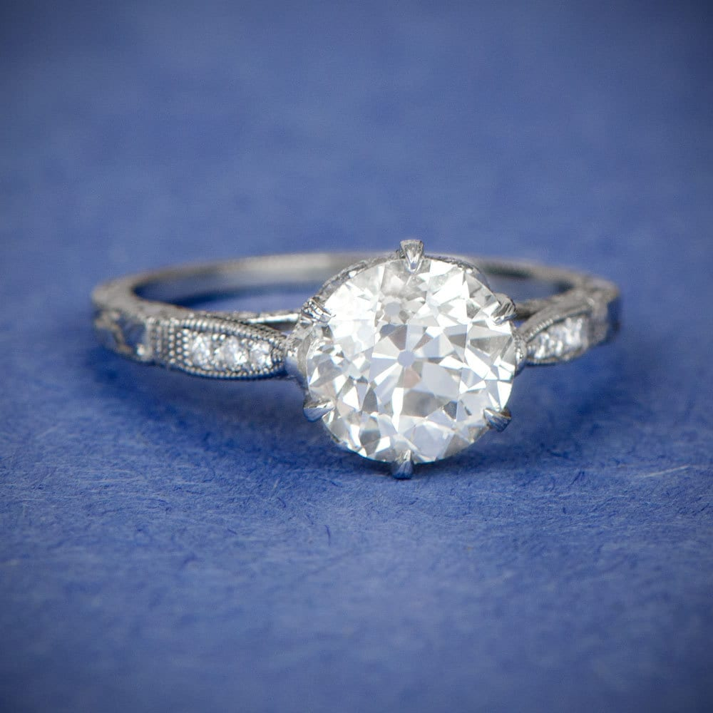Engagement Rings Vintage Style: 1.78ct Vintage Style Engagement Ring Antique Diamond And