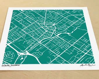 Guelph Map, Hand-Drawn Map Print of Guelph Ontario