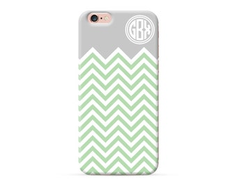 iPhone 8 Case, iPhone 8 Plus Case, iPhone X Case, iPhone 7 Case, iPhone 6, Monogram Case, green chevron, personalized phone case, clear case