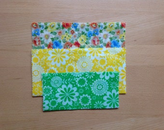Reusable Beeswax Food Wraps Set of 3 BPA free Wrap Zero Waste Plastic Free Wraps