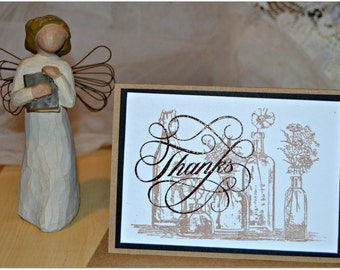 Thank You Note Cards, Set of 8 Rustic Note Cards, Embossed Thanks Cards, Wedding Note Cards
