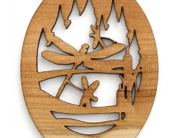 Oval Dragonflies Ornament - Made in the USA with sustainably harvested wood! - Timber Green Woods.