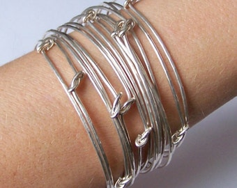 Silver Stackable Bangle Bracelets - 3 Hammered and Knotted Bangles Stacking Bangles - in German Silver or Silver Filled or Sterling Silver