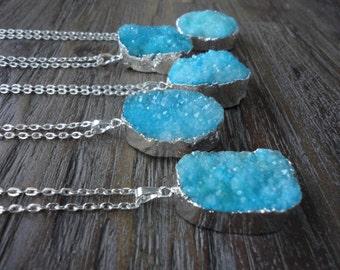 Druzy Agate Pendant Silver Necklace/Blue Druzy/Aqua Agate/Silver Surround/Silver Chain/Bright Aqua Blue
