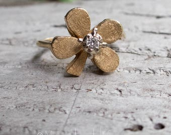SALE Vintage 14kt Gold 4 Leaf Clover Ring | Gold and Diamond Lucky Clover Ring | Valentines Day | Anniversary | Birthday Ring Under 400