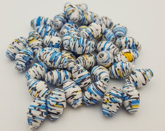 Blue White Yellow | Paper beads | Paper Bead Jewelry | Recycled Upcycled | Loose Paper Beads | Jewelry Supplies | Beading Supplies | Bicone
