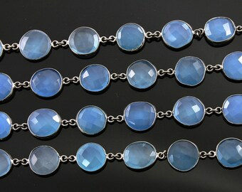 Blue Chalcedony Bezel Chain Component, ,Sold as Foot,13  mm, (GMCOX-BLCHL)