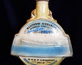 Vintage 1970 Manitowoc Wisconsin Submarine Decanter Operation Redfin