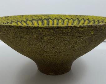 1960s Mid Century Modern Aldo Londi for Bitossi Italian Pottery Lava Glaze Bowl