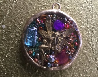 Almost A Butterfly Pendant - one of a series of Mixed Media Pendants
