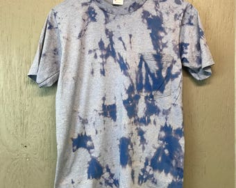 S/M * Vintage 80s Blank pocket bleach dye t shirt