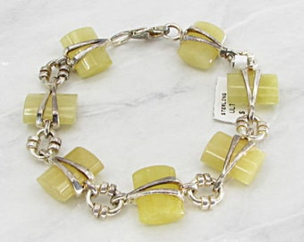 925 sterling silver - wrapped yellow jade 16mm chain bracelet - b1073