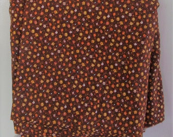 NEW 3 yards, 45 Inches wide,  Brown Background with Orange, Yellow and White FLOWERS  Old Store Stock,  Brand New