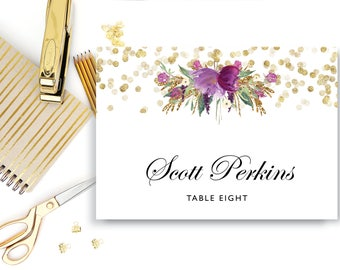Folded Place Card Template, INSTANT DOWNLOAD, Editable Text Microsoft Word Place Card, Downloadable, Purple Gold, Purple Flowers, The Carmel