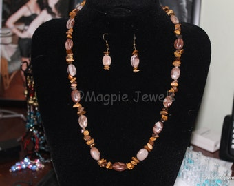 Necklace and Earring Set Oval Pebbles and Stone Chips