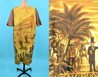 1970s Hawaiian dress | Stan Hicks unique novelty print brown tropical shift dress | vintage 70s dress | W 46""