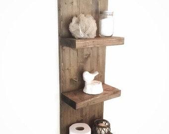 Rustic wooden shelf - Large Bathroom shelf - wall shelf - floating shelf  -bathroom organizer - bathroom storage