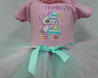 Girl Easter dress,Girls First Easter outfit,1st Easter outfit, Personalized Easter bodysuit, Easter tutu, Easter headband,Easter Bunny Dress