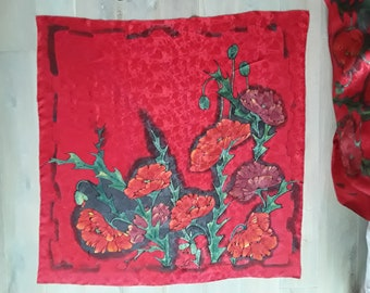 Red Papaver - silk hand painted scarf