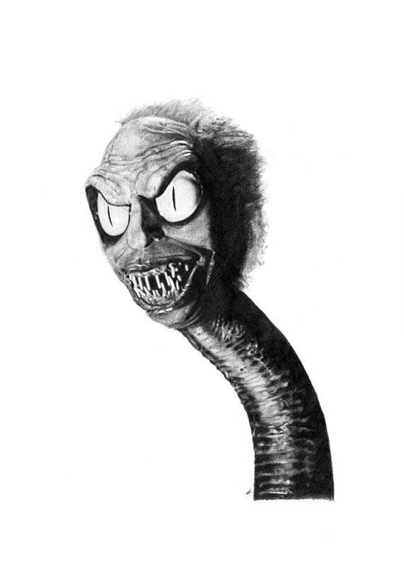 Beetlejuice snake head pencil drawing