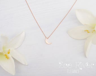 I love you to the moon and back necklace. Tiny rose gold, silver or gold moon necklace. Elegant and dainty necklace