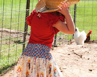 Girls Skirt - Girls Farm Animal Skirt - Girls Western Twirl Skirt- Farm Girl Skirt- Farm Skirt- Farm Animal Skirt