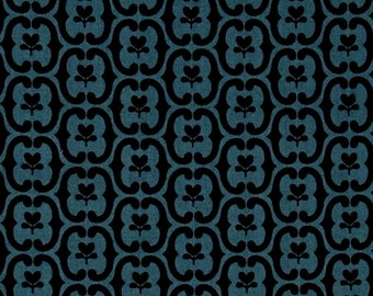 By The HALF YARD - Southcott by Kathy Hall of Winterthur Museum for Andover, #7537-B Floral Damask Blue, Navy Scrolls on Country Blue