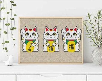 PATTERN: Set of 3, Manekineko cross stitch pattern, Lucky cat, Fortune cat, Gook luck charm, Cute Cross Stitch Pattern, Instant Download PDF