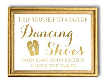 Wedding Dancing Shoes Sign, Shoes For Guests, Flip Flop Wedding, Gold Foil, Wedding Decor, Reception Sign, Wedding Shoes, Beach Wedding Sign