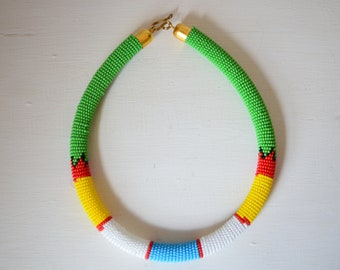 African Maasai Beaded Necklace | Tribal Jewelry | Ethnic African Choker Necklace | Multi color Necklace | Green Necklace | Gift for Her