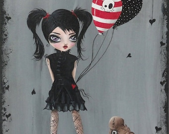 Giclee Art Print Mixed Media Signed Reproduction My Pet Monster by Lizzy Love [IMG#79]