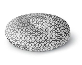 White Cubes Round Floor Pillow