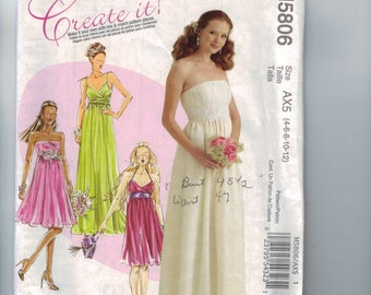 Misses Sewing Pattern McCalls M5806 5806 Misses Strapless High Waist Romantic Wedding Gown Bridesmaids Dress Prom Size 4 6 8 10 12 UNCUT  99