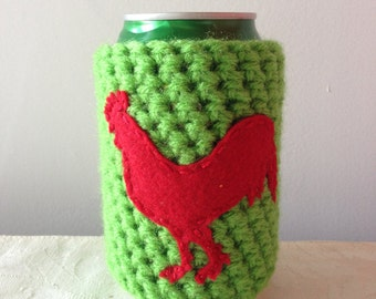 Red Rooster Crochet Animal Cozy in Lime Green, Coffee Cozy, Reusable Cup Cozy, Can Cozy, Coffee Sleeve, Cup Sleeve by Maroozi