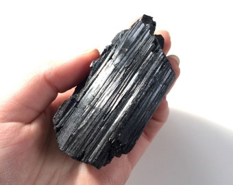 Black tourmaline large rough natural raw stone 3''