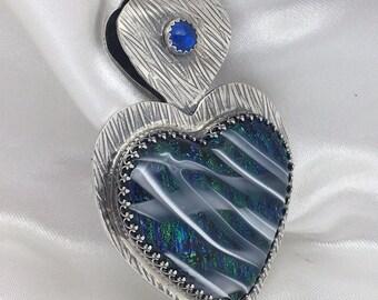 Green and Royal Blue w White Swirls Dichroic Heart Pendant