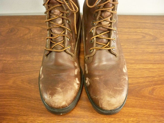 Work Vintage Motorcycle Toe in USA Timberland 9 Leather Hunting Made Boots Size Brown Soft Men's IrwEP8qr