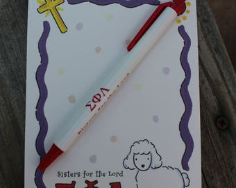 Sigma Phi Lambda Note pad and pen