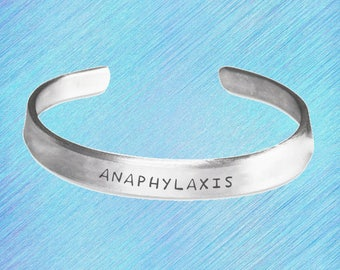 Anaphylaxis Stamped Bracelet, Anaphylaxis gift, Medic alert bracelet, Anaphylaxis Bracelet, Allergies, Medical Alert, Anaphylaxis gift.