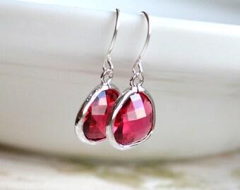 Hot pink earrings Crystal glass earrings Fuchsia teardrop earrings Dark pink glass jewelry handmade jewelry Sparkling earrings