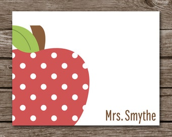 PRINTABLE Teacher Note Cards, Teacher Notecards, Apple Note Cards, Apple Cards, Personalized Note Cards,
