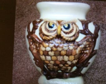 Kitschy 78 OWL Jar Vase Handmade by Ann from Poured Mold Shade's of Creams, Gold, and Browns Owl Pot Owl Canister The Owl is on both Sides