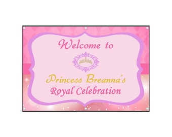 Princess Birthday Banner - Vinyl - Girls Birthday Banner - Birthday Sign - Birthday Party Decor
